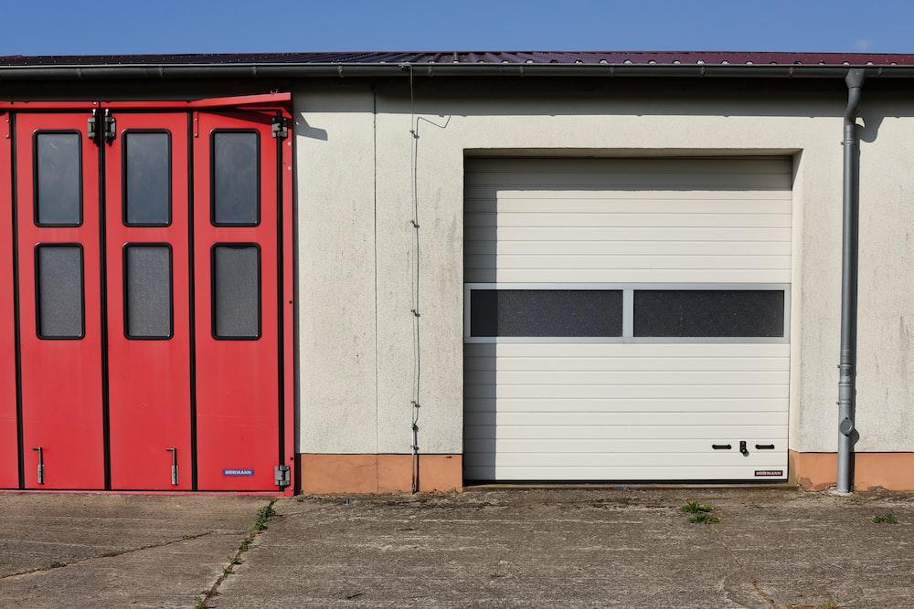 red metal sliding door