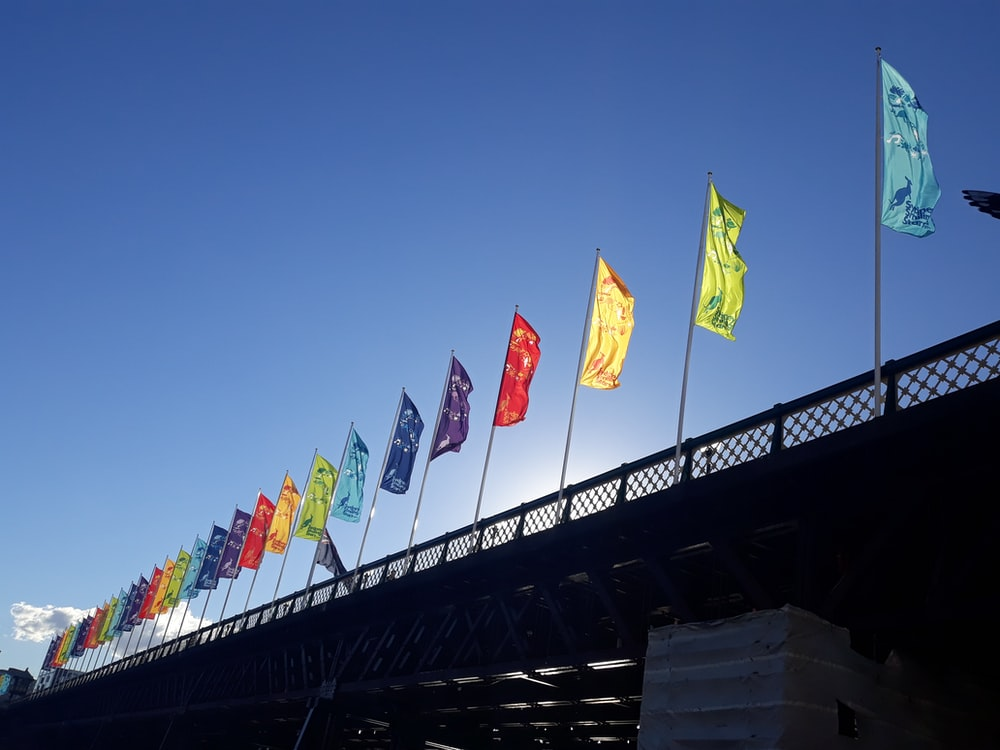 assorted-color flags