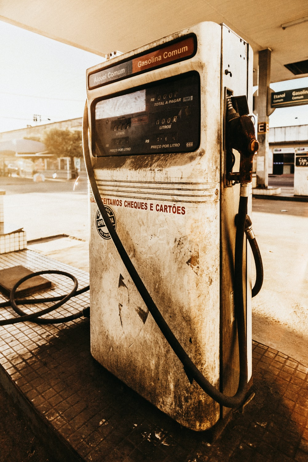 white gasoline pump
