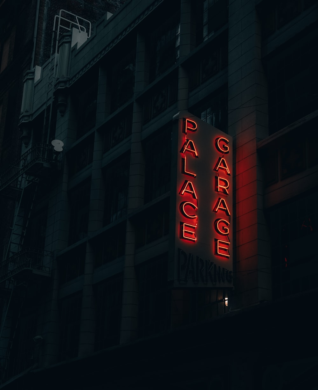 red Palace Garage neon signage