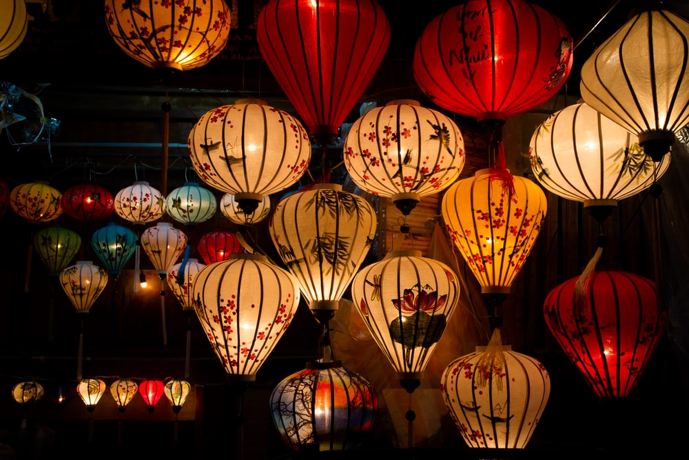 assorted-color Chinese lanterns at night