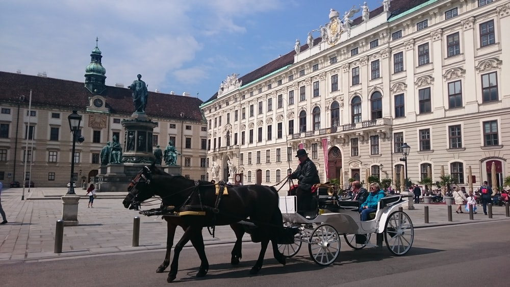 people riding carriage