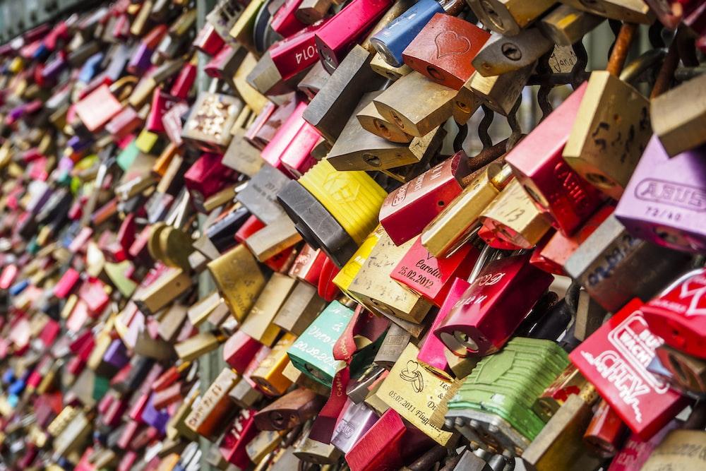 assorted-color locks