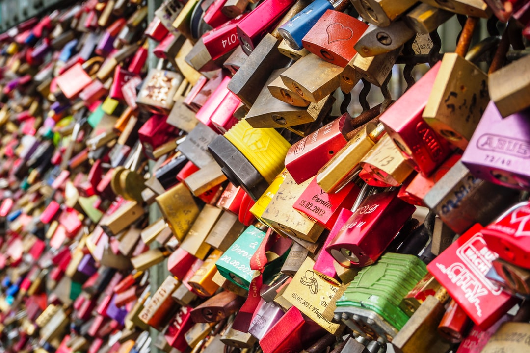 Padlocks on the railing of the Hohenzollern Bridge in Cologne, Germany