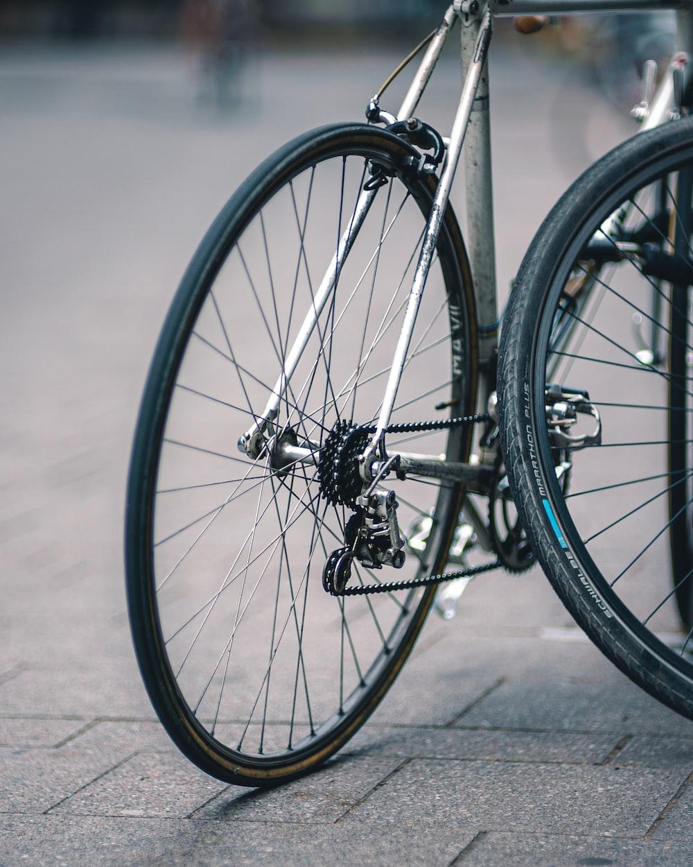 shallow focus photo of gray bike