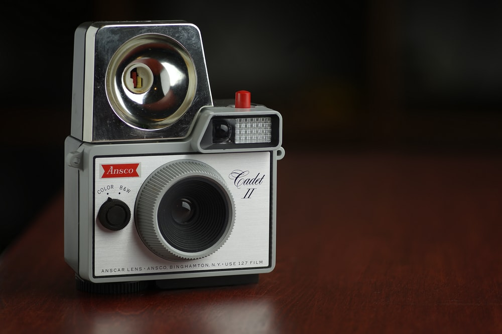 white vintage camera