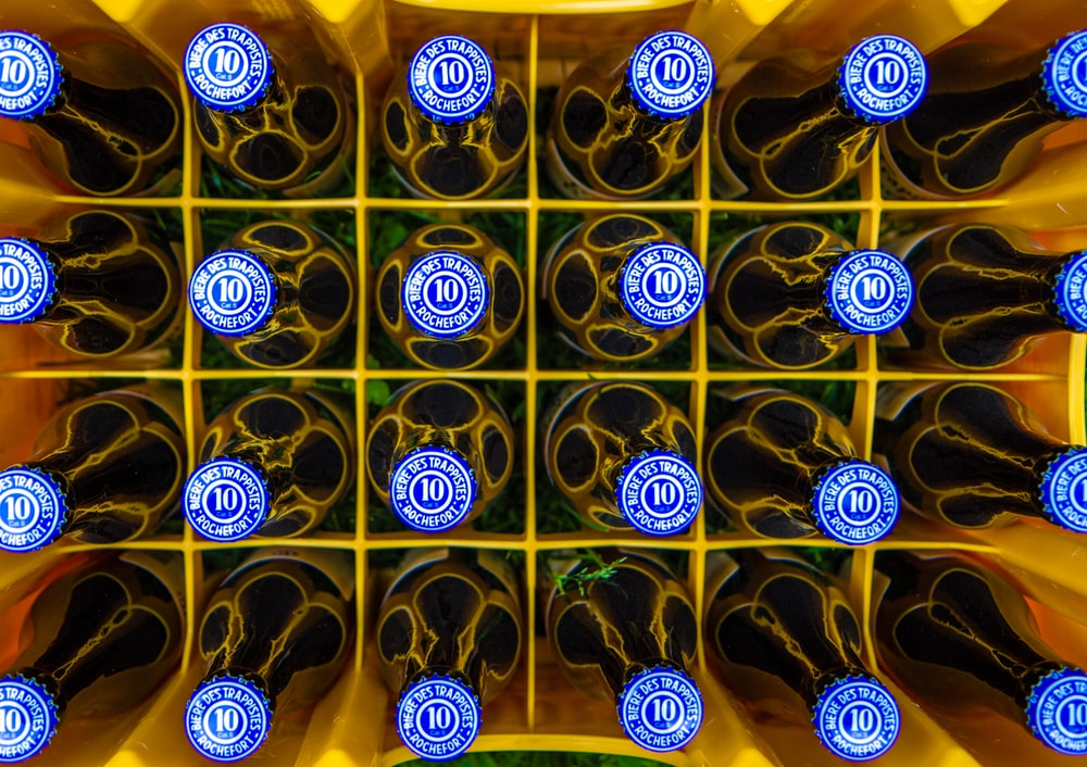blue lid soda bottles