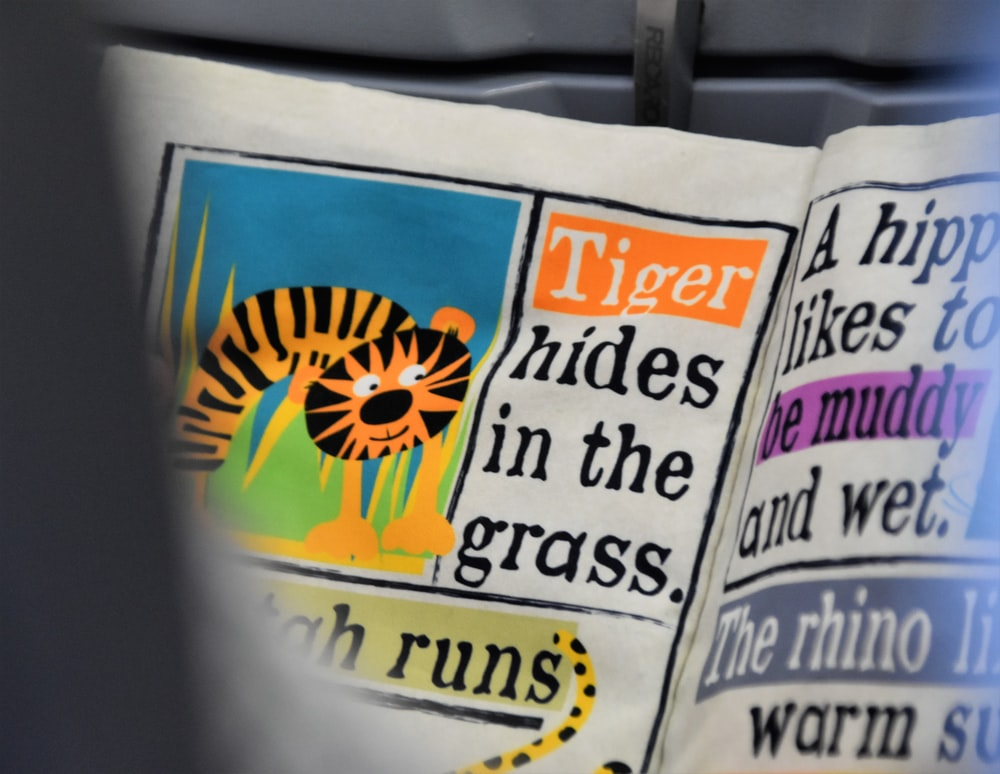 tiger hides in the grass paper