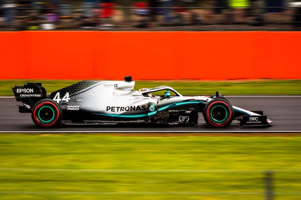 white and gray Petronas racing car