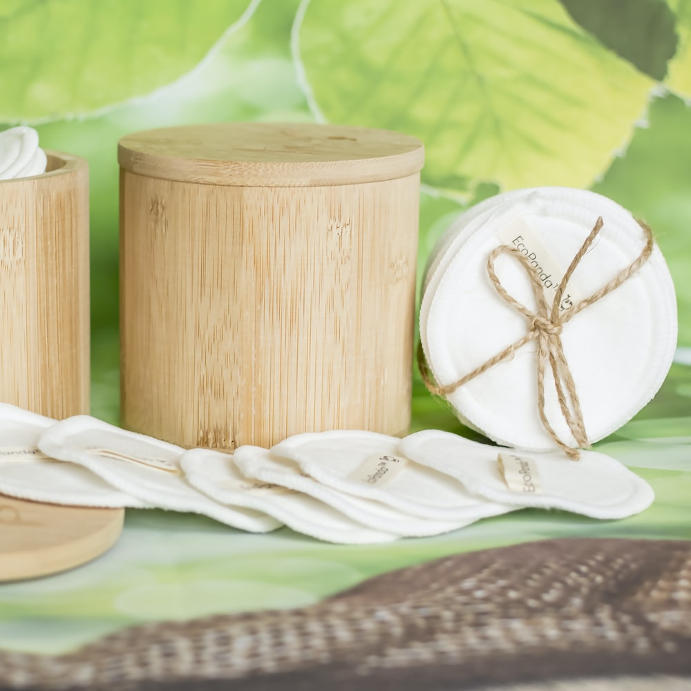beige bamboo jar with lid