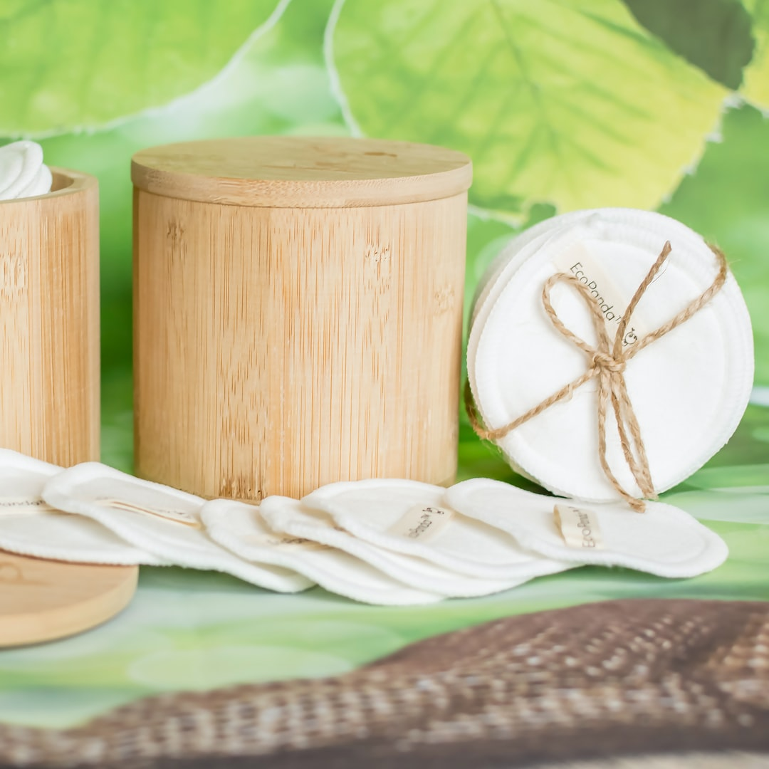 Reusable Cotton Pads with Bamboo Storage Jar by EcoPanda