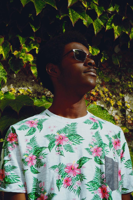 man wearing white floral shirt