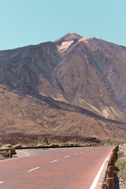 brown mountain near road