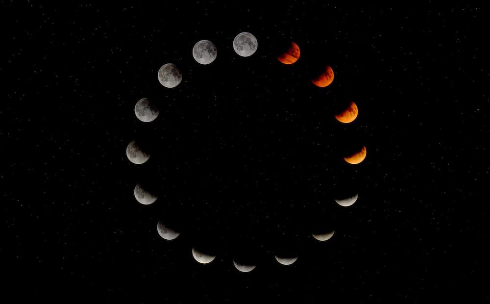 white and orange moon illustration