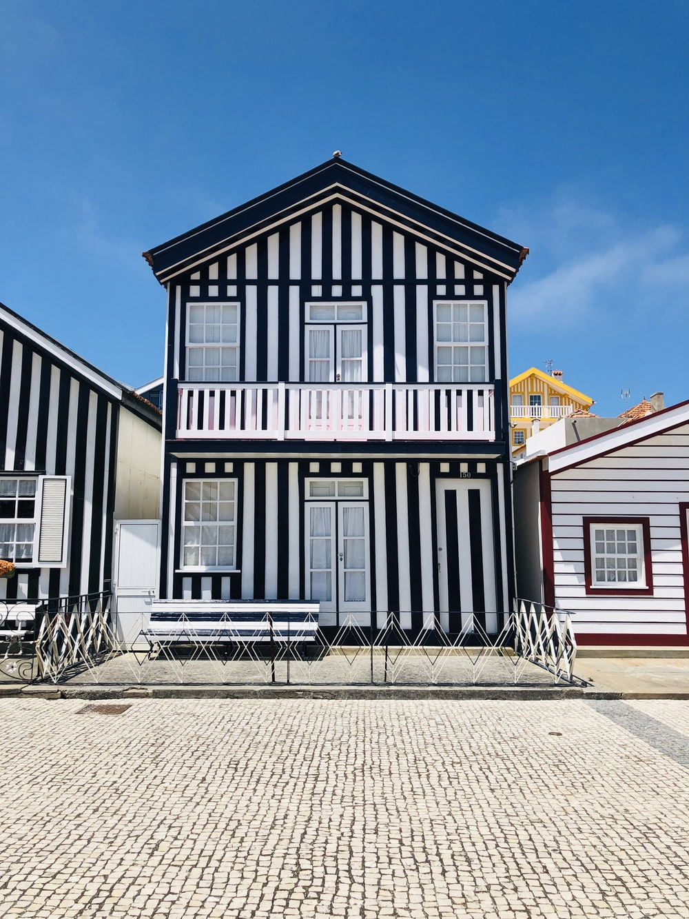black and white wooden house