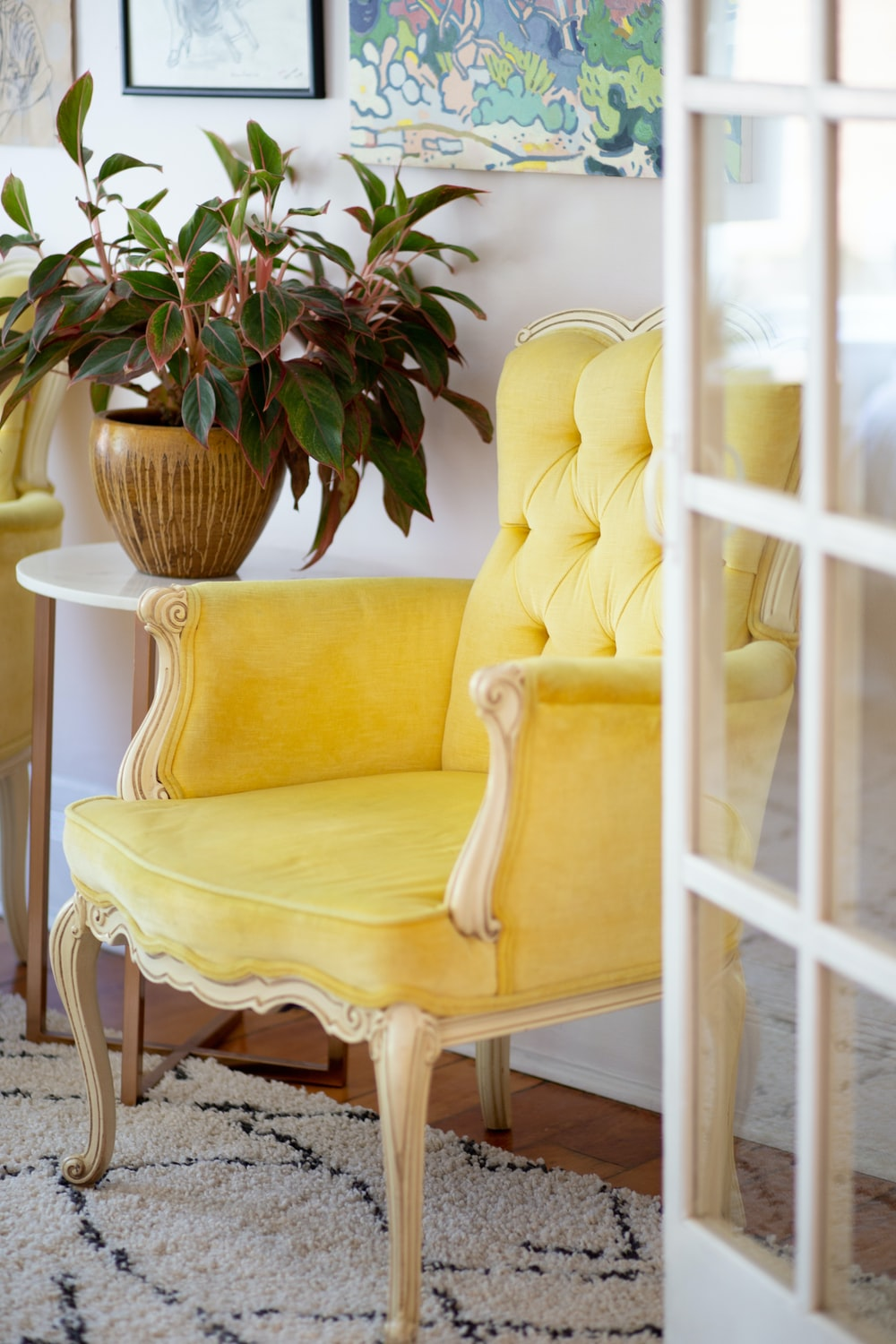 empty yellow sofa chair