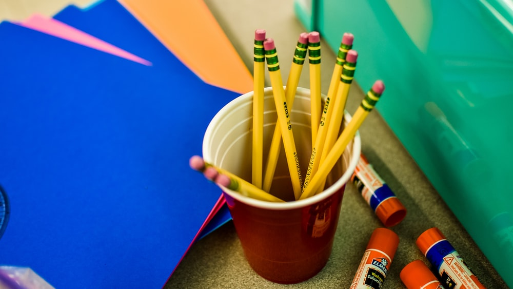 yellow pencils in cup