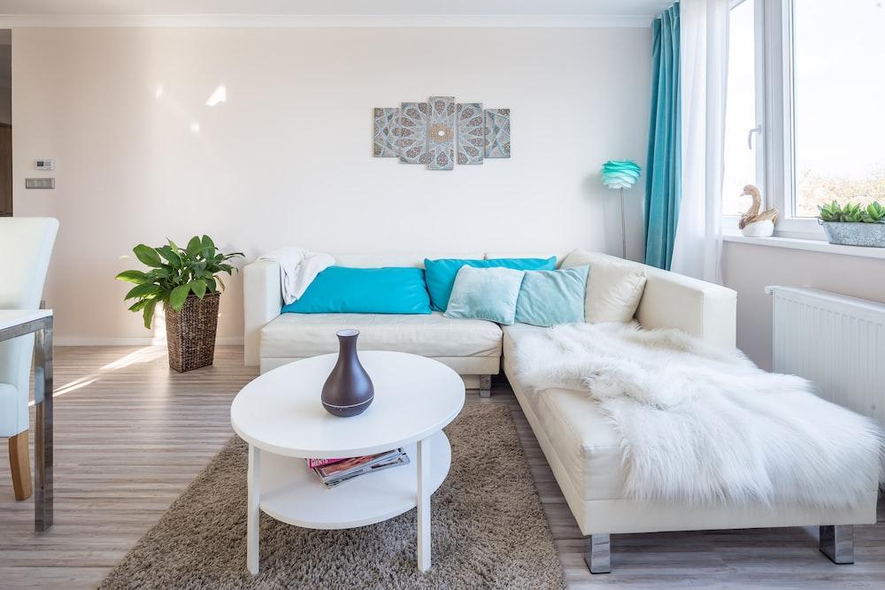 white corner sofa inside living room