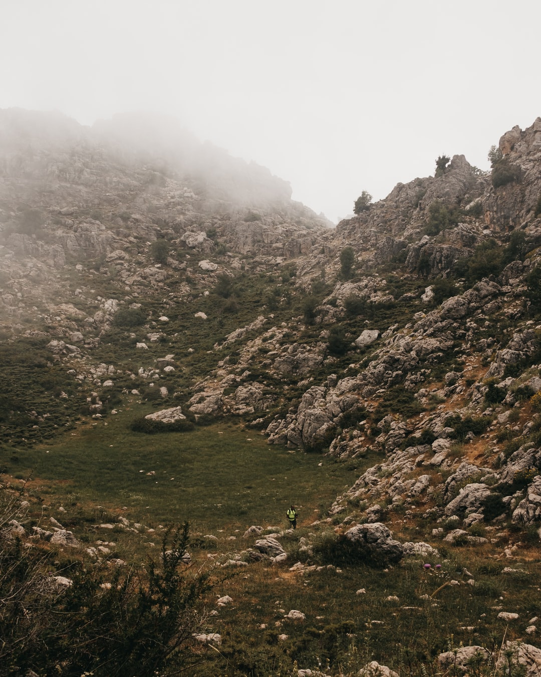 Hiking in Douma, Lebanon with fog covering the land.