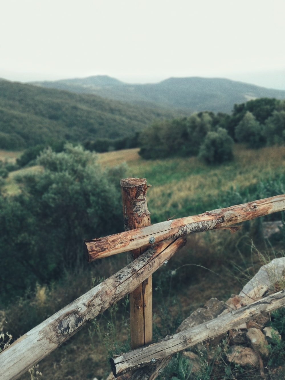 brown wooden fence near trees and mountains at the distance