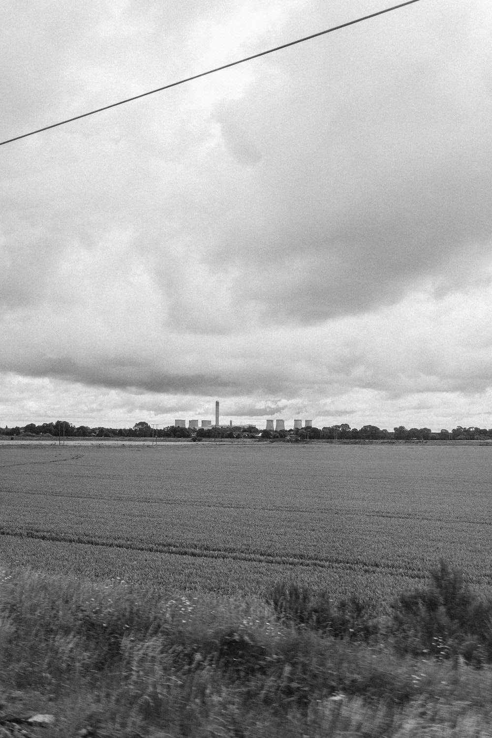 grayscale photography of crop field