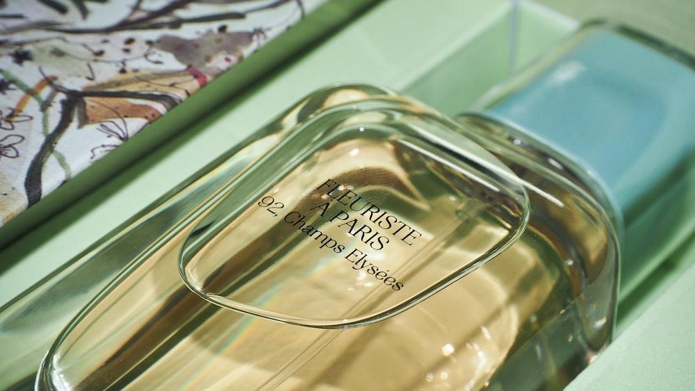 clear glass fragrance bottle