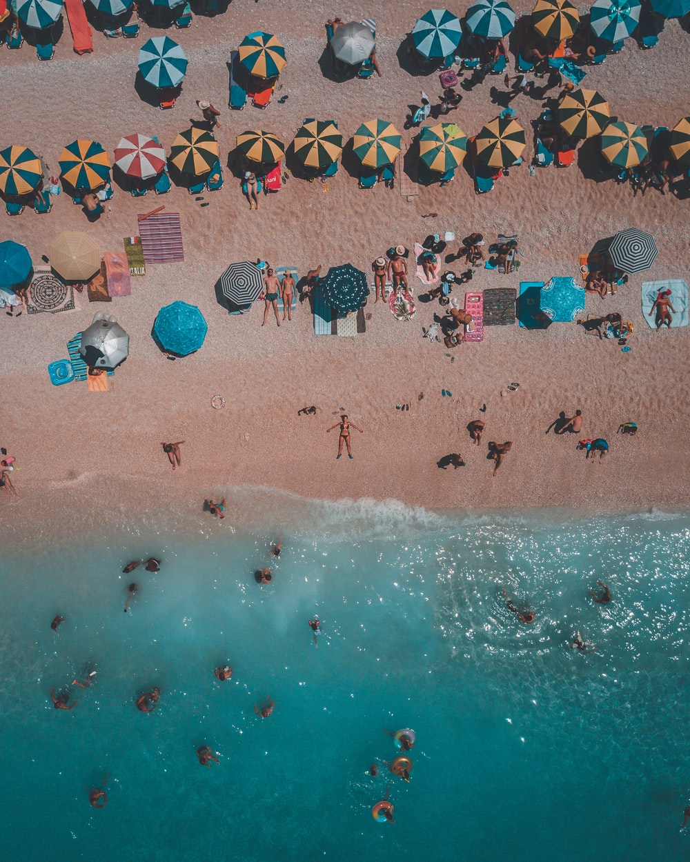 aerial photography group of person enjoying on beach