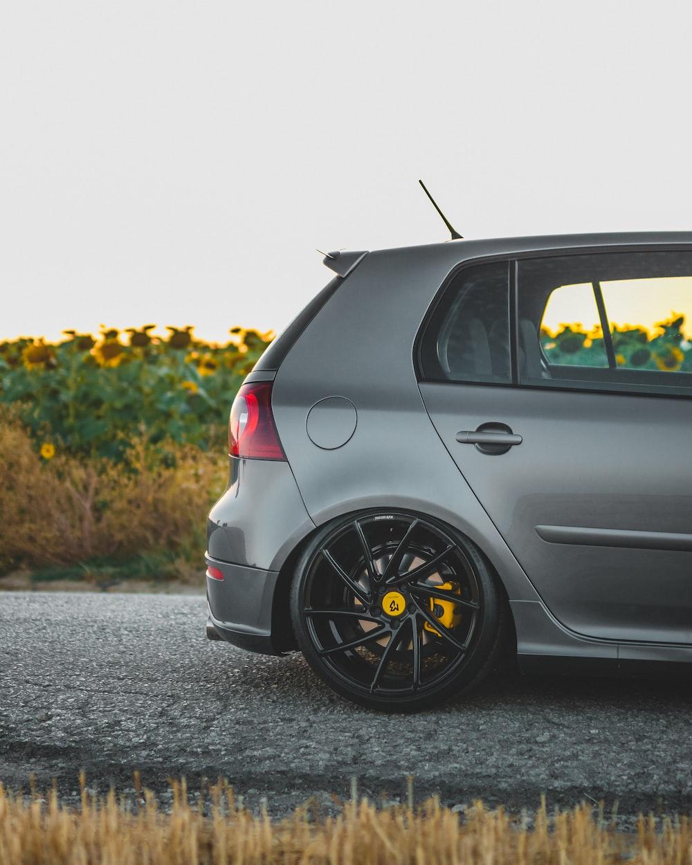 grey hatchback