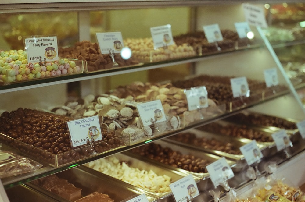 assorted pastries in display counter