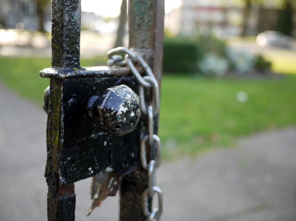 black metal door lock