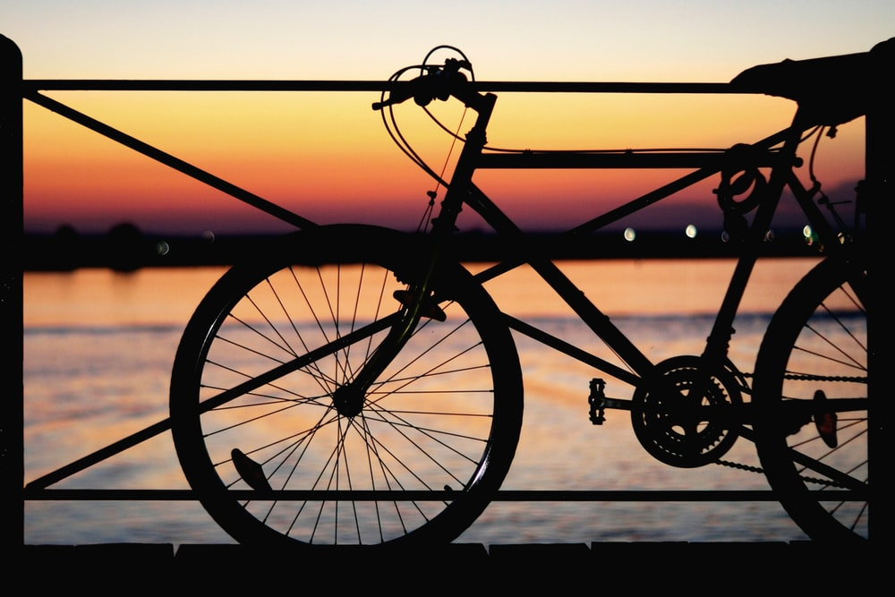 silhouette of park bicycle near body of water