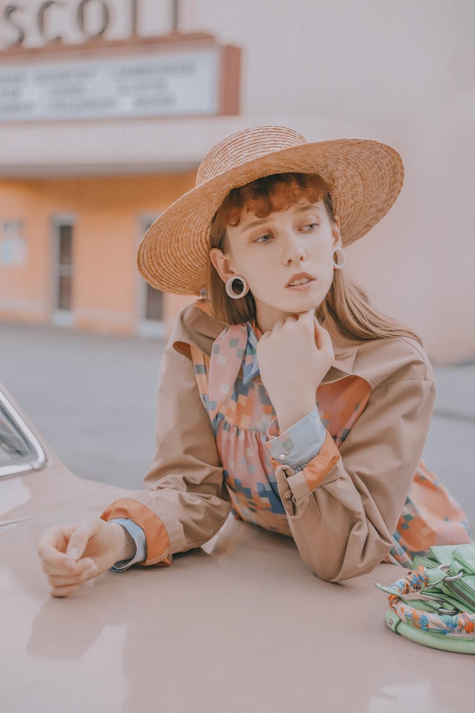 women's brown sun hat