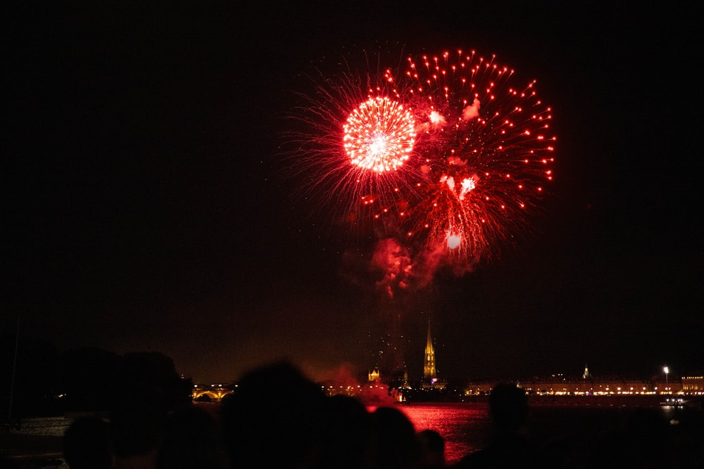 red and white fireworks photography
