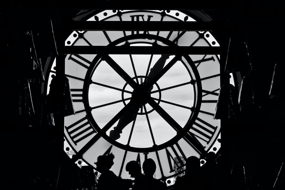 silhouette photography clock tower