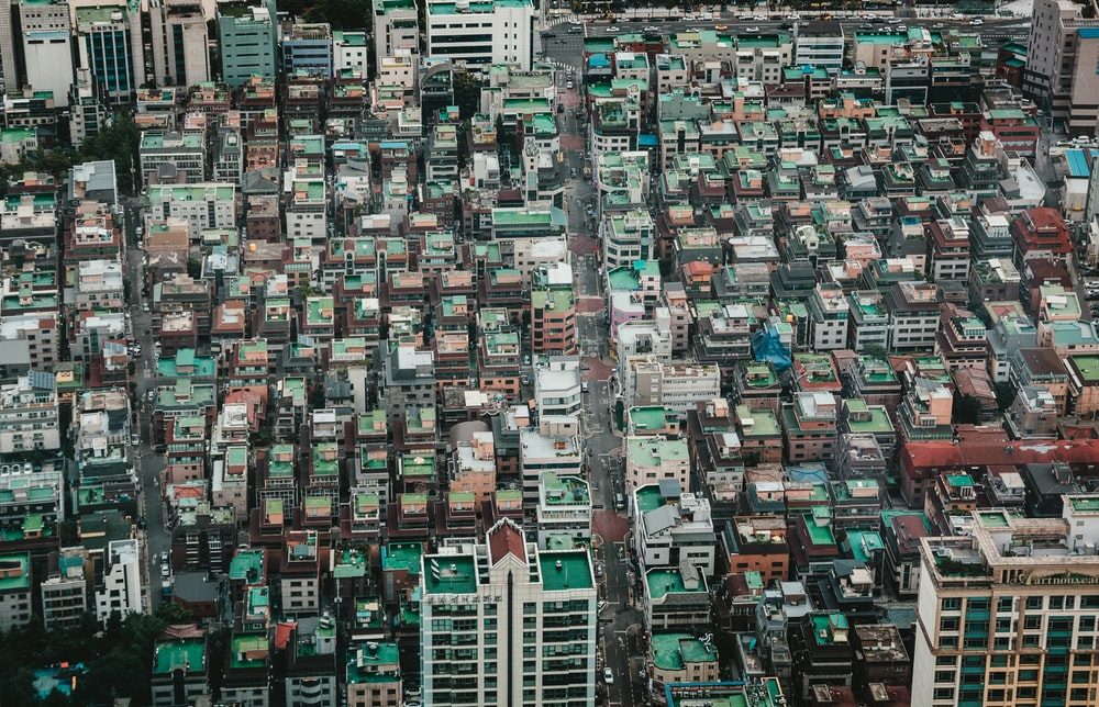 high-angle photography of buildings