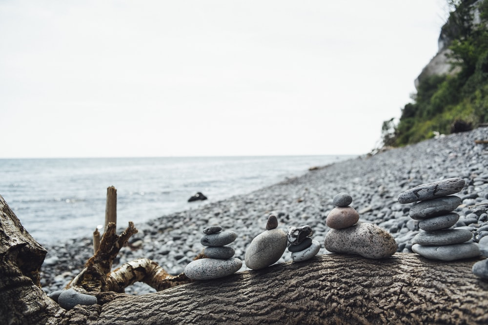 stacked stones by the beach