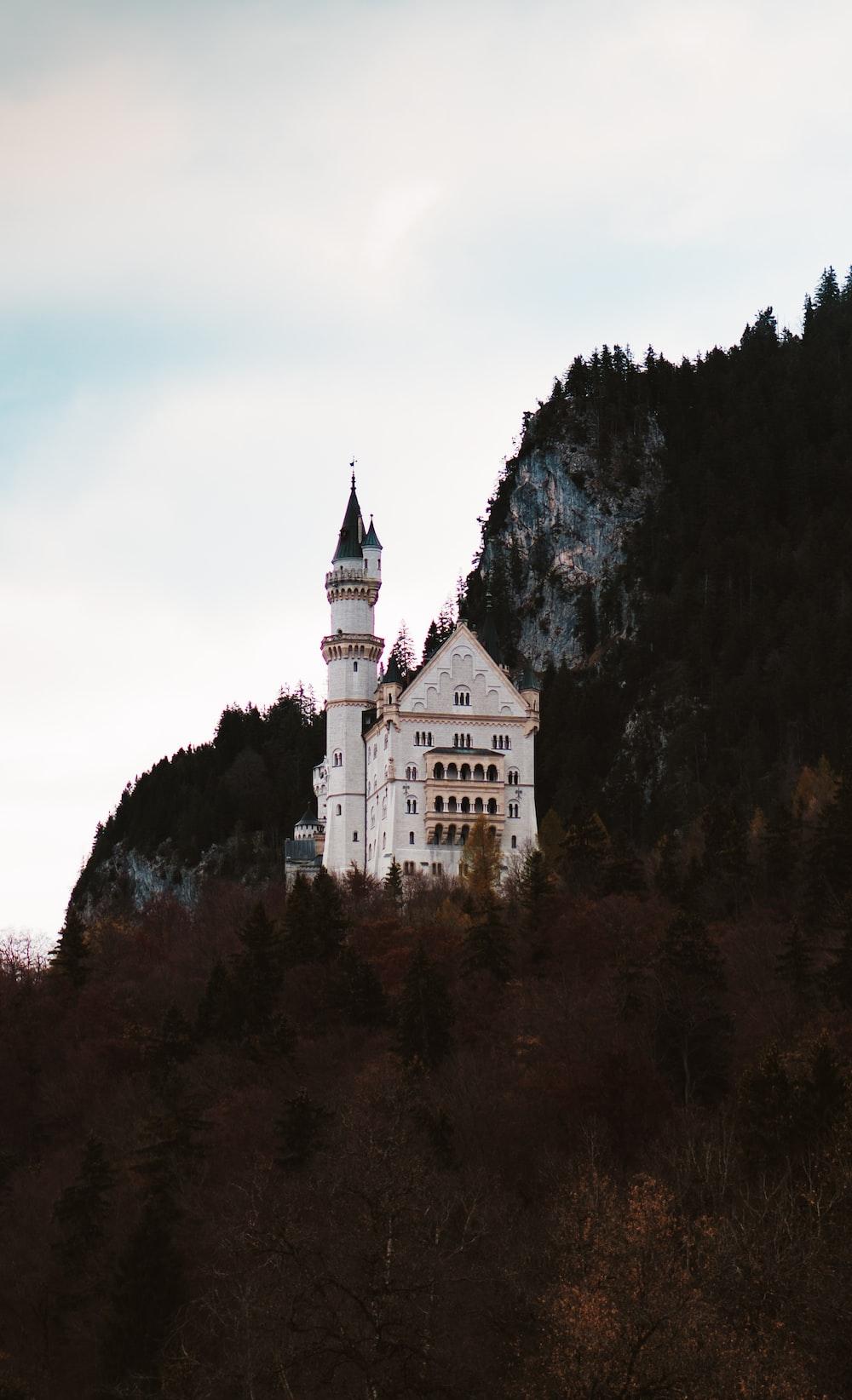 white castle beside trees at daytime
