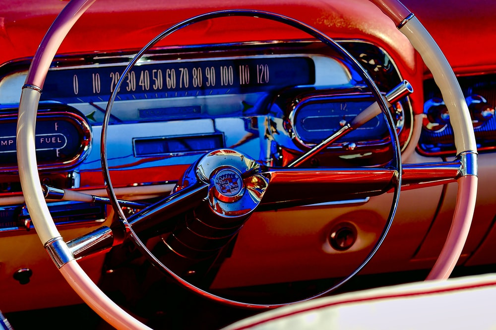 gray and red steering wheel