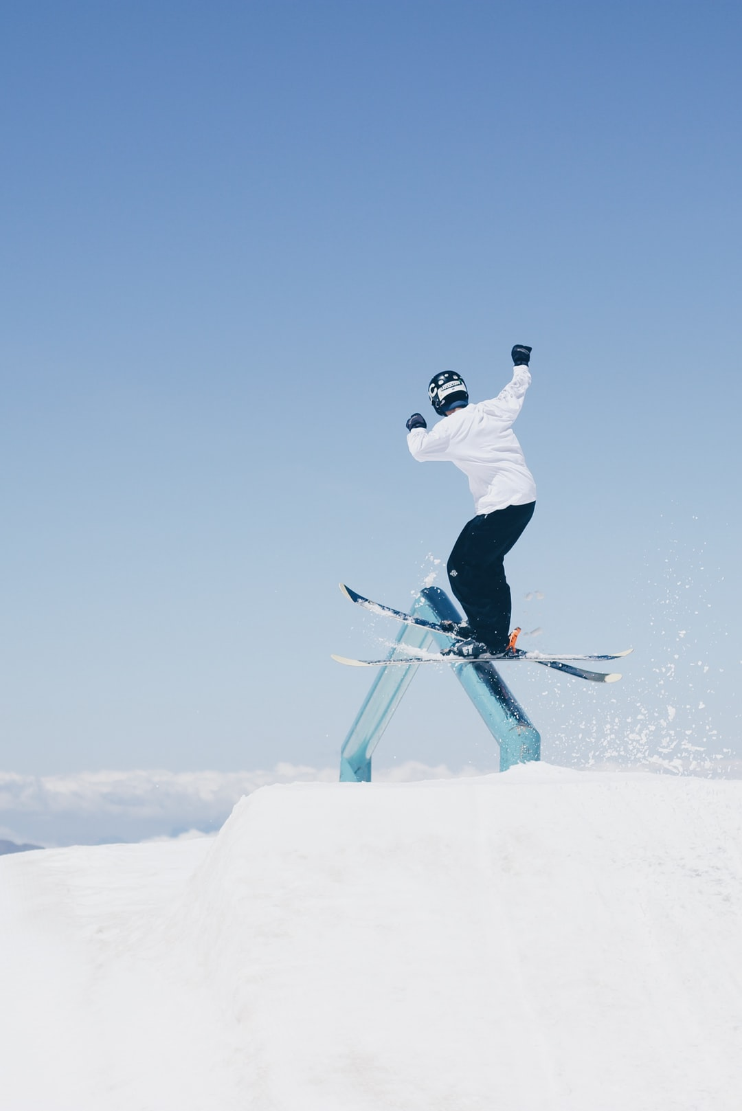 Skier train in the rail in Les Deux Alpes