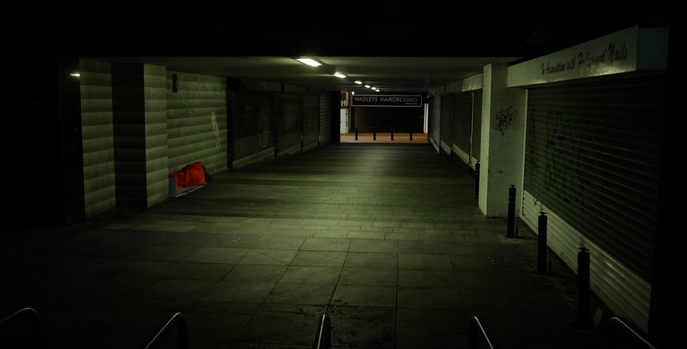 empty building during night time