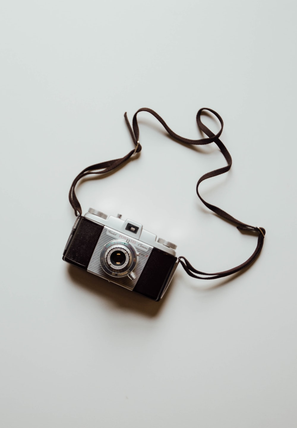 black and silver classic film camera