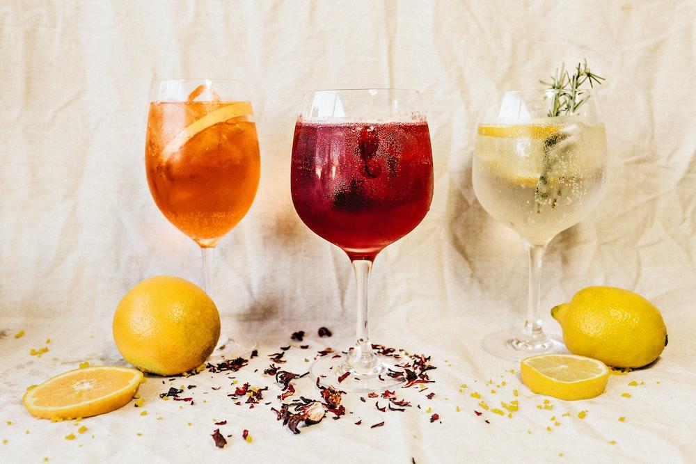 several glasses of cocktails