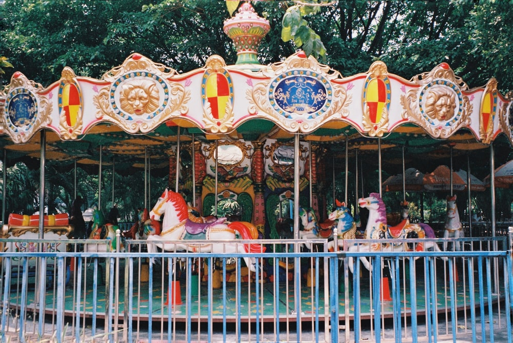 brown and red carousel