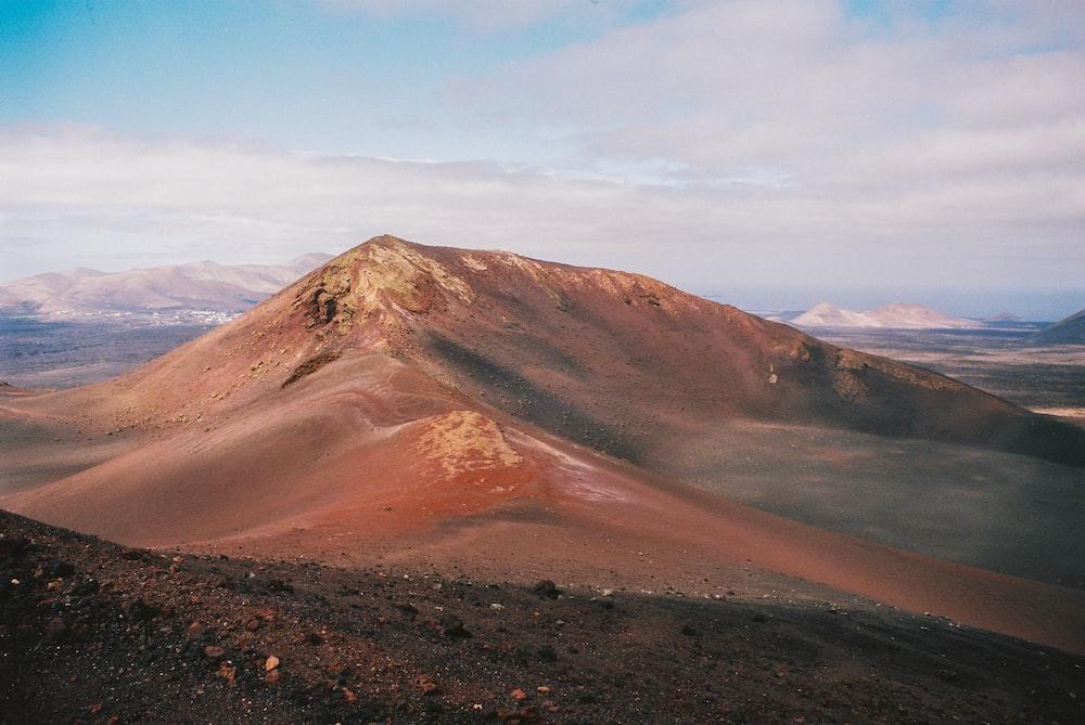 high-angle photography of brown mountain