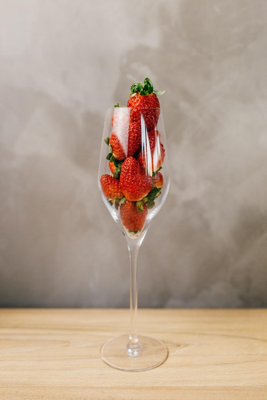 strawberries in wine glass