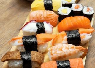 sushi on wooden platter