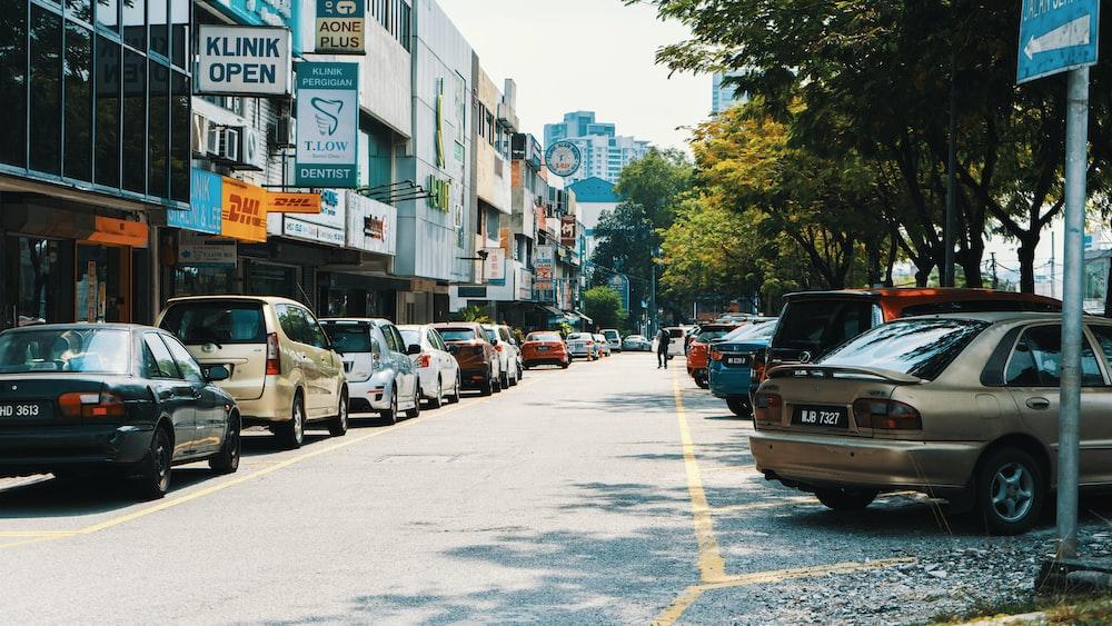 vehicle parks near the street