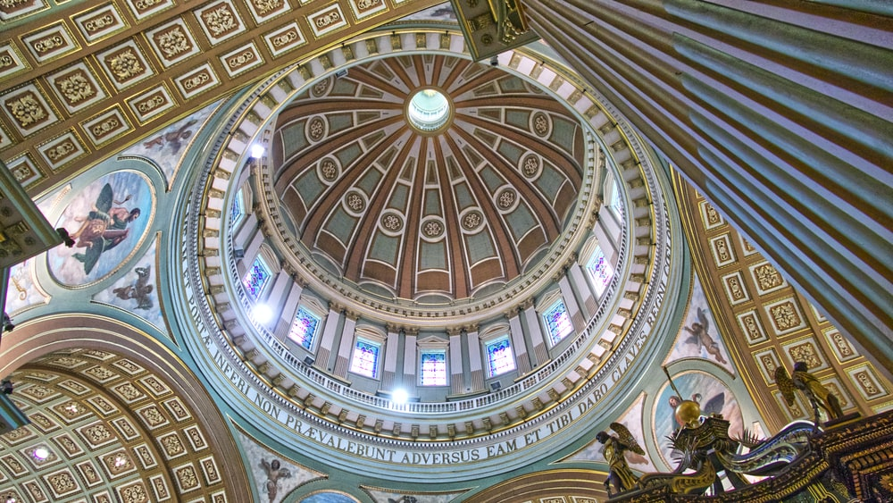 low-angle photography of dome ceiling