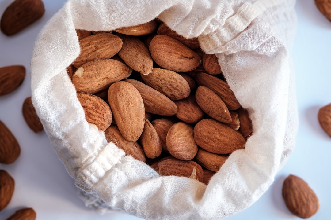 Zero Waste. Cotton bag with almonds