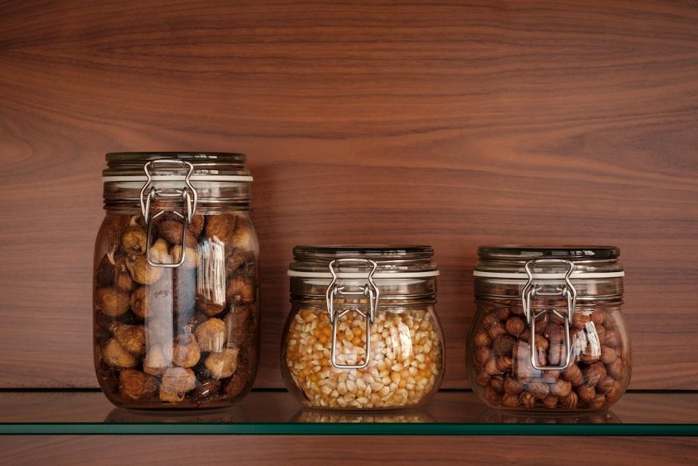 three clear glass jars
